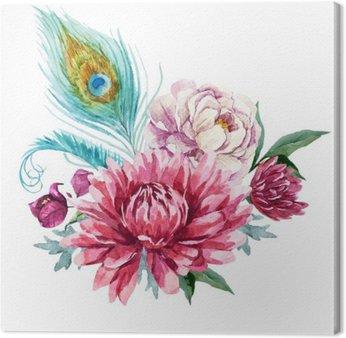 Canvastavla Vattenfärg blommig komposition