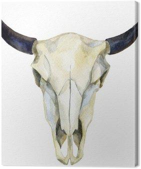 Canvastavla Vattenfärg cow skull