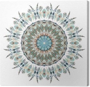 Canvastavla Vattenfärg etniska fjädrar abstrakt mandala.