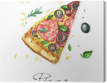 Canvastavla Vattenfärg Food Målning - Pizza