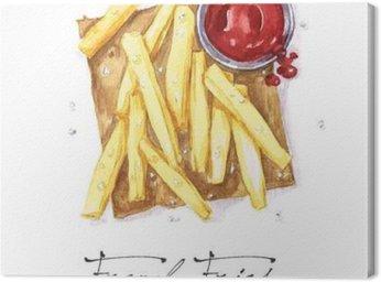 Canvastavla Vattenfärg Food Målning - pommes frites