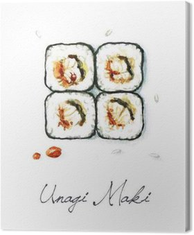 Canvastavla Vattenfärg Food Målning - Unagi Maki