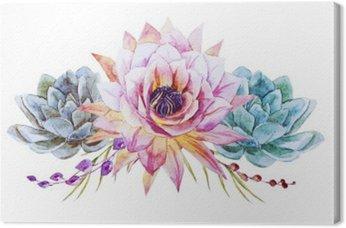 Canvastavla Vattenfärg lotus