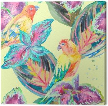 Canvastavla Vattenfärg papegojor .Tropical blommor och blad. Exotisk.