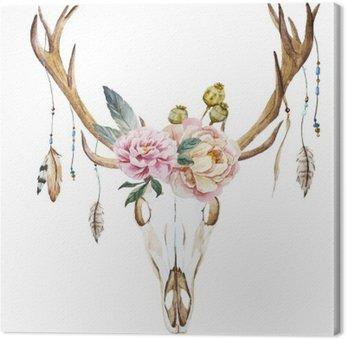Canvastavla Vattenfärg rådjur huvudet med blommor