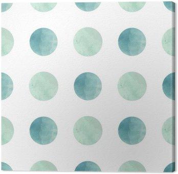 Canvastavla Vattenfärg textur. Seamless mönster. Vattenfärg cirklar i pastellfärger på vit bakgrund. Pastellfärger och romantiska delikat design. Polka Dot Pattern. Färska och Mint färger.