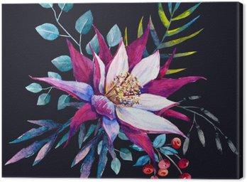 Canvastavla Vattenfärg tropisk komposition