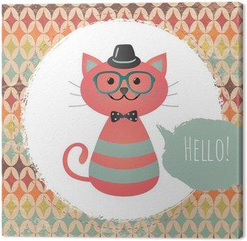 Canvastavla Vector Hipster Cat hälsningskortdesign illustration