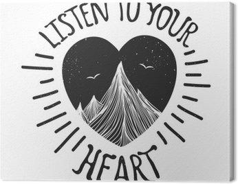 Canvastavla Vector illustration med berg inne i hjärtat