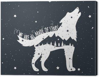 Canvastavla Vector illustration med Howling Wolf, berg och träd