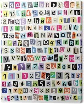 Canvastavla Vector Ransom Notebook Cut Paper bokstäver, siffror, symboler