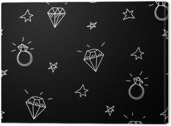 Canvastavla Vector Seamless vigselringar, stjärnor och juveler. Gamla skolan tatuering element. hipster stil