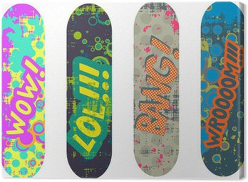 Canvastavla Vector skateboard design pack med tecknade stil effekter