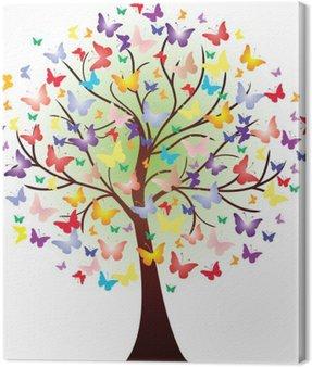 Canvastavla Vector vackra våren träd, bestående av fjärilar