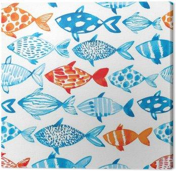 Canvastavla Vektor akvarell fisk på ljus bakgrund. Vattenfärg mönster s