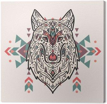 Canvastavla Vektor färgrik illustration av stam- stil varg med etniska prydnader. Amerikanska indiska motiv. Totem tatuering. Boho design.