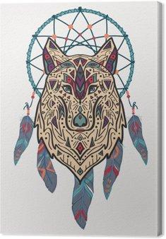 Canvastavla Vektor färgrik illustration av stam- stil varg med etniska prydnader och drömfångare. Amerikanska indiska motiv. Totem tatuering. Boho design.