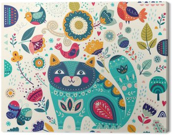 Canvastavla Vektor färgrik illustration med vackra katt, fjärilar, fåglar och blommor