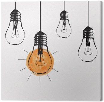 Canvastavla Vektor grunge illustration med hängande glödlampor och plats för text. Modern hipster skiss stil. Unik idé och kreativt tänkande koncept.