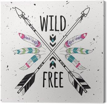Canvastavla Vektor grunge illustration med korsade etniska pilar, fjädrar och stam- prydnad. Boho och hippie stil. Amerikanska indiska motiv. Vild och fri affisch.