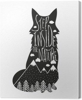 Canvastavla Vektor handritad bokstäver illustration. Stig in naturen. Typografi affisch med räv, berg, tallskog och moln.
