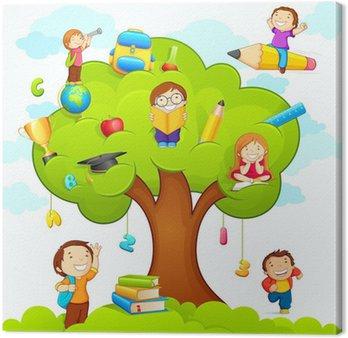 Canvastavla Vektor illustration av barn som studerar på utbildningen träd