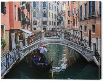 Canvastavla Venedig, Italien - Gondolier och historiska hyreshusen