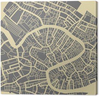 Canvastavla Venedig vektorkarta. Svartvitt tappningdesign bas för resekort, annonsering, gåva eller affisch.