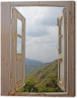 Canvastavla View Från en Old White Window