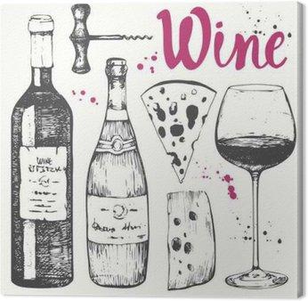 Canvastavla Vin set. Vinframställning produkter i skiss stil.