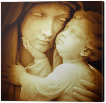 Canvastavla Vintage bild av jungfru Maria med baby Jesus