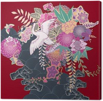 Canvastavla Vintage kimono blomstermotiv