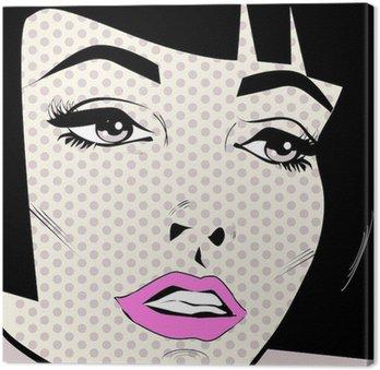 Canvastavla Vintage kvinna ansikte popkonst retro affisch