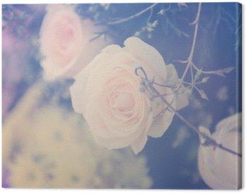 Canvastavla Vintage ros blomma bukett mjuk bakgrund