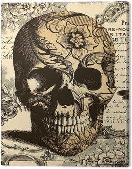 Canvastavla Vintage Skull bakgrund