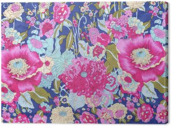 Canvastavla Vintage stil gobeläng blommor tyg mönster bakgrund