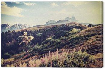 Canvastavla Vintage Valley och bergen