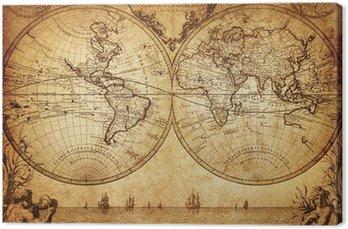 Canvastavla Vintage världskartan 1733
