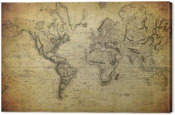 Canvastavla Vintage världskartan 1814 ..