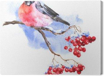 Canvastavla Vinter Akvarell Bakgrund med Domherrar