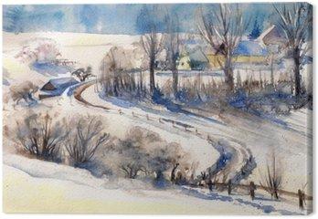Canvastavla Vinterlandskap med vägen till village.Picture skapas med vattenfärger.