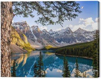 Canvastavla Visa landskap av Morain sjön och bergskedjan, Alberta, Canad