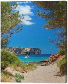 Canvastavla Visa på Cala Algaiarens från sandvägen till stranden