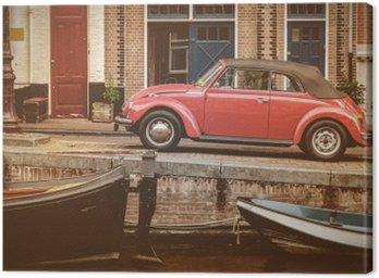 Canvastavla Visa på en gammal kanal i Amsterdam