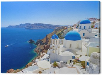 Canvastavla Vit arkitekturen i Oia byn på ön Santorini, Grekland
