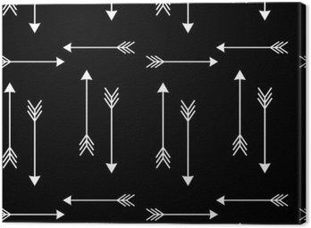Canvastavla Vita pilar på svart bakgrund sömlösa vektor mönster illustration__