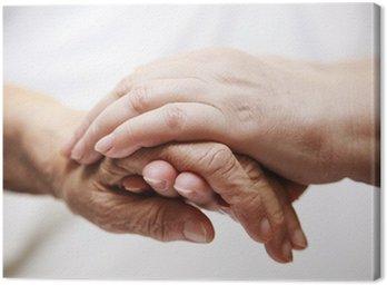 Canvastavla Vuxen hjälpa äldre på sjukhus