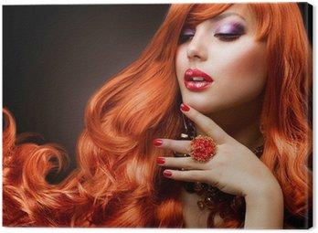 Canvastavla Wavy rött hår. Fashion Girl Portrait