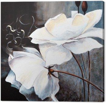 Canvastavla Weisse Blumen