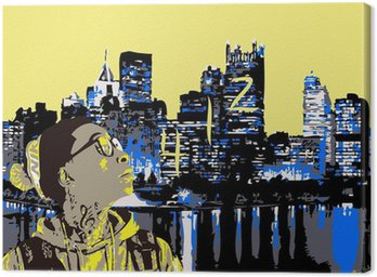 Canvastavla Wiz Khalifa på Pittsburgh 412